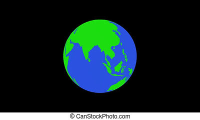 globe bleu, vert