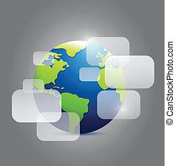 globe, boîtes, illustration, transparent