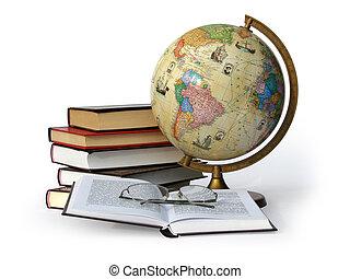 globe, boekjes , bril