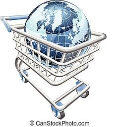 globe, boodschappenwagentje, concept