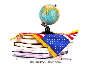 Globe, books and American flag