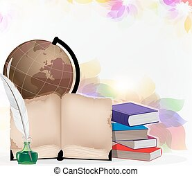 Globe, books and feather