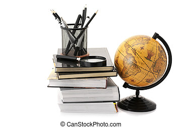 Globe, books and office supplies