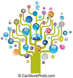 globe, boompje, kleurrijke, iconen