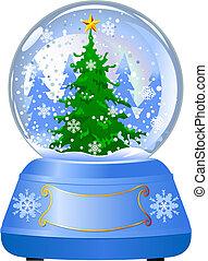 globe, boompje, sneeuw, kerstmis