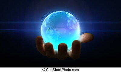 globe, boucle, main