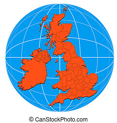 Globe British Isles Map - Illustration of a globe with the...