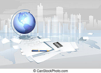 globe, business, papiers