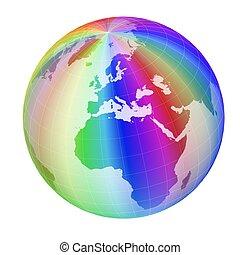 globe, cadre, coloré