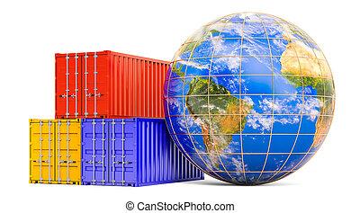 globe, cargaison, 3d, global, containers., expédition, livraison, rendre, concept, la terre