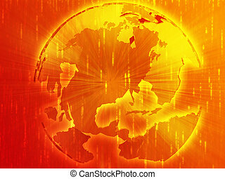 globe, carte, illustration, amériques