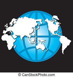globe, carte, vecteur, conception