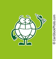 Globe cartoon character with a rock
