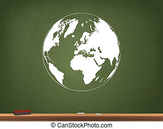Globe Chalkboard Illustration
