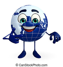 Globe Character is pointing