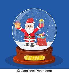 globe, claus, neige, santa, noël