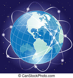 globe - illustration, blue globe in cosmos in encirclement...
