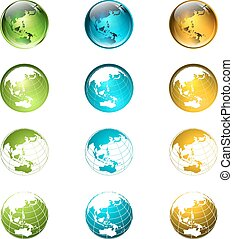 globe, collection, multicolore, mondiale, logo, ou, icône