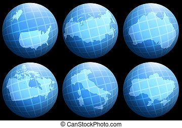 globe, collections, pays