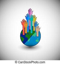 globe, coloré, élévation, mains
