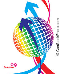 globe, coloré, design.