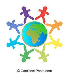 globe, coloré, gens