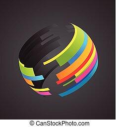globe, coloré, icône