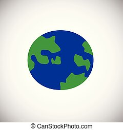 Globe color flat on white background