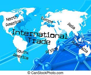 globe, commercer, mondiale, international, travers, spectacles