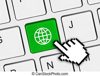 globe, computer sleutel, toetsenbord