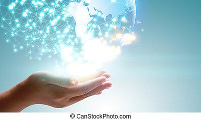 globe., concept., mão, glowing, connected., segurando, social, mundo, rede