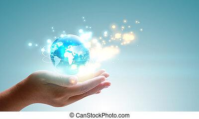 globe., concept., main, incandescent, connected., tenue, social, mondiale, réseau