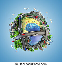 concept globe showing diversity and transport in the world in a cartoony style