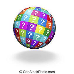 globe, concept, questions, marque