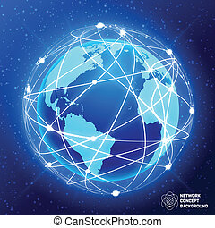 globe, concept, réseau