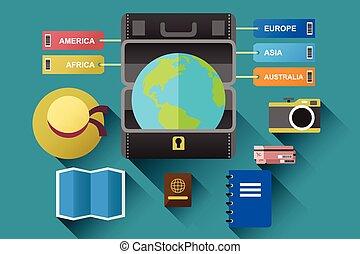globe, concept, reizen, koffer
