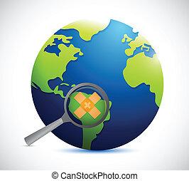 globe, concept, sécurité, illustration