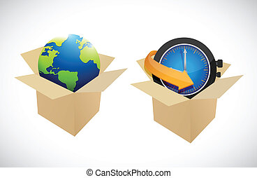 globe, conception, boîtes, illustration, horloge