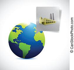 globe, conception, usine, illustration