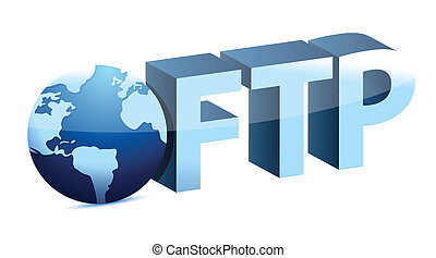 globe connected to FTP illustration design over white