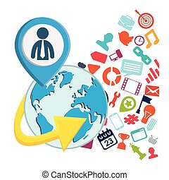 globe connections network image design