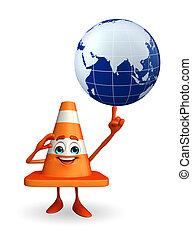 globe, construction, caractère, cône