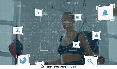 globe, corde, femme, sur, icônes, sauter, numérique, sauter, contre, portée
