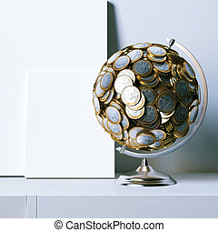 Globe created of euro coins and mock clear poster