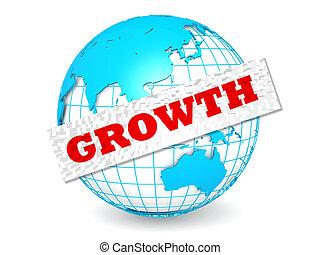 globe, croissance, mot