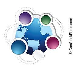 globe cycle business diagram illustration design
