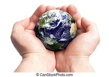 globe, dans, mains