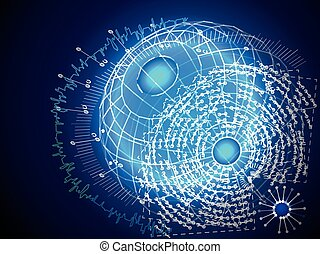 Globe data graphic visualization. Abstract graph. - Globe ...