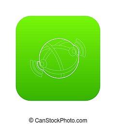 Globe database icon green