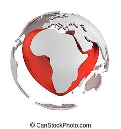 globe, deel, afrika, hart